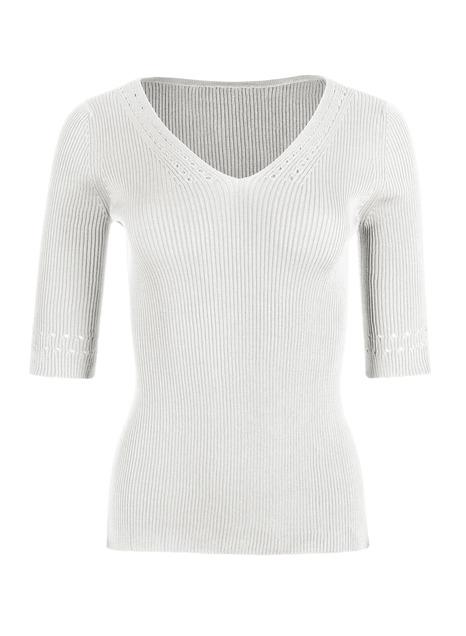 Pointelle Pima Cotton V-Neck Top
