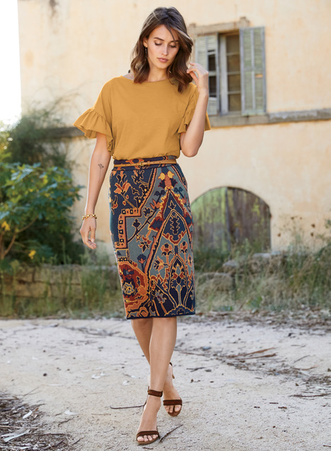 Yasmin Pima Cotton Pencil Skirt