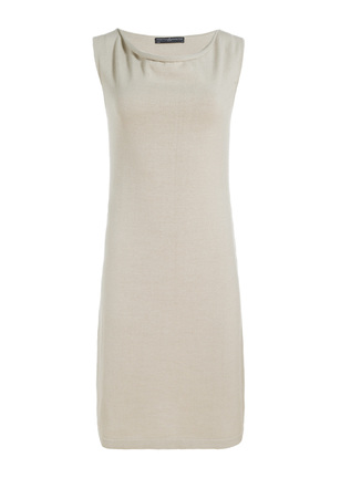Freya Drape-Neck Pima Shift Dress