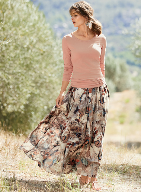 Brushstrokes Maxi-Skirt