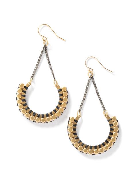 Demi-Hoop Brass Bead Earrings
