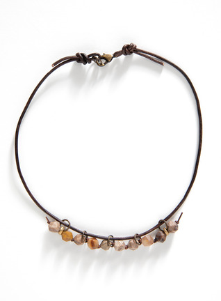 Star-Cut Stone And Leather Choker