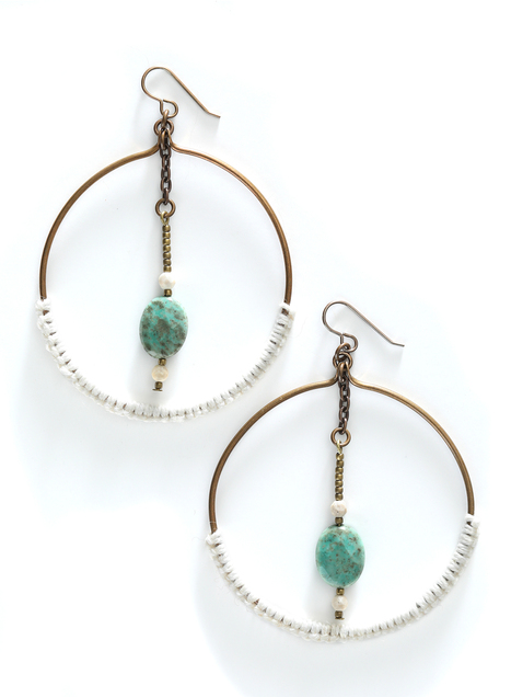 Ivory Linen And Brass Hoops