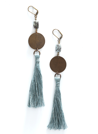 Indigo-Dyed Tassel Earrings