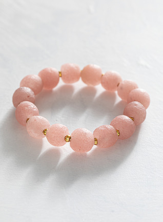 Pink Glass And Brass Stretch Bracelet