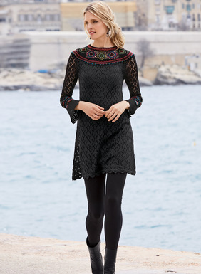 A rich inlay of handcrocheted diamonds, flowers and stripes brightens the yoke and sleeves of our lacy black pima tunic. A heart-stirring piece with a bohemian soul, the fit-and-flare silhouette has a high neck with a keyhole but-toned back and scalloped trim at the belled cuffs and hem.