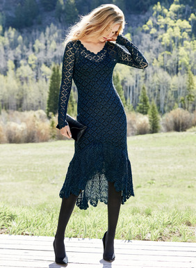 The season's quintessential party dress is knit in a lace-work of pima (90%) diamonds lit with blue Lurex® (10%) for sparkle. Fit-and-flare shape, handcrocheted scallops accent the v-neck, cuffs and high-low, flounced hem.