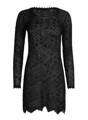 Inspired by Victorian era lace, our captivating short dress is knit in lacy florals of pima (90%) lit with shimmery Lurex (10%).  This perfect holiday frock is available in two festive colorways of burgundy with red metallic and black with emerald metallic.  Finished with scalloped handcrocheted trim and an A-line hem.