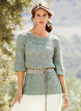 Feminine and fresh as springtime, our Silver Sage pima tunic is knit in lacy Art Deco diamonds and finished with a scalloped crochet neckline, belled elbow-sleeves and petite ribbed trim.