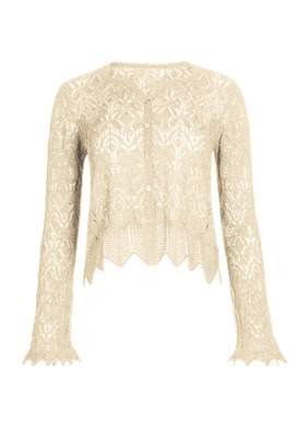 A whisper-light evening layer, our cropped lace cardigan is knit of pima (98%) and illuminated with metallic threads (2%). Embellished with handcrocheted scallops and picot trim, with a sweetheart v-neckline and belled sleeves.