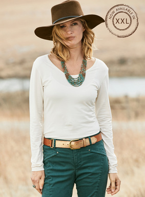 Our bestselling Layering Tee, in soft, stretchy pima (95%) and lycra® (5%) jersey.