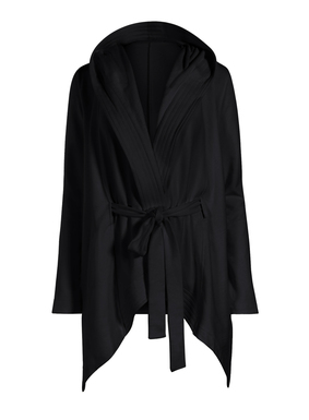 In soft black French terry, the jacket features a hooded collar and self-belt for multiple styling options. Trapunto-stitched, cascading placket; dramatic angular hem; side pockets. Pima cotton (95%) and Lycra® (5%).
