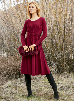 The go-anywhere dress in pima (51%) and modal (49%) jersey beguiles with a pleated bodice that releases to a sweeping hem. Travel friendly and ultra-flattering, with an attached sash that can be tied front or back to create an hourglass shape; lined bodice.