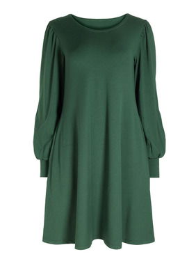 Gathered bishop sleeves give our relaxed t-shirt dress a touch of romance. Sewn of fluid pima (49%), modal (47%) and spandex (4%) jersey, it fits through the shoulders, releasing to a flowy flared skirt with pockets.