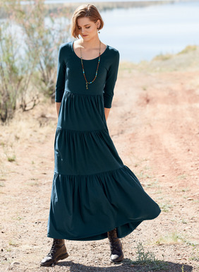 A wardrobe hero, this versatile dress ventures effortlessly from day to night, season to season. Perfect for travel in packable pima (49%), modal (47%) and spandex (4%) jersey, it fits through the bodice, flaring to a three-tiered, ankle-length hem; ¾-sleeves.