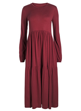 Our prairie dress in viscose (95%) and spandex (5%) jersey has an eased shape, with gathered blouson sleeves, seamed waist and a two-tiered skirt that floats to a boot-length A-line hem; pockets.