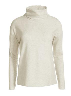 Der Mönchskragen-Pullover ist aus einem weichen French-Terry-Gewebe, hat überschnittene Schultern und Seitenschlitze. Perfekt kombinierbar mit der passenden Hose für einen luxuriösen Loungeware-Look. Aus 48 %  Pimabaumwolle, 47 % Modal und 5 % Elasthan.