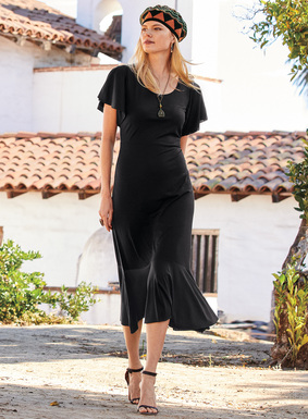 Fluttering sleeves lend graceful movement to this travel-ready LBD. Balancing romance and ease in drapy pima (51%) and modal (49%) jersey, it fits through the double-layered bodice, flowing from the seamed waist to a flounced A-line hem.