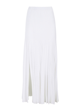 The pima (51%) and modal (49%) jersey skirt fits through the hip and flares in godets to an ankle length hem with a sexy, off-center slit.