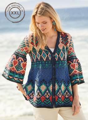 Channeling summer's bohemian vibe, our laid-back cardigan is patterned in motifs from an antique Greek textile in denim, geranium, turquoise and peach. Knit of tweeded pima bouclé yarns with pointelle openwork. V-neck; belled ¾-sleeves; A-line hem.