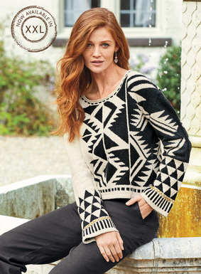 Placed stripes and geometrics pattern this beautiful pullover in graphic black, navy, and birch. Masterfully intarsia knit by hand of lofty pima bouclé yarns, the casual design is finished with a round neck and hand-embroidered contrast trim at the belled cuffs.