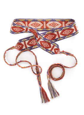 Expertly handcrafted by Andean artisans, our Peruvian pima cotton belt features bold geometrics in burnt orange, brass, cream, and dusty blue. Complete with hand-beaded ties and tassle trim, this accessory can be tied in a variety of ways to allow for maximum versatility.