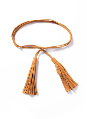 The tan suede wrap belt is finished with long tassels.