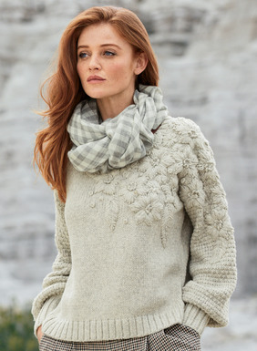 A bas-relief of dimensional, hand-embroidered flowers trails down one shoulder and graces both sleeves of this extraordinary art knit. Soft and substantial in tweeded baby alpaca (68%) and cotton (32%), with tuckstitched blouson sleeves and ribbed trim that add even more textural interest; crewneck.