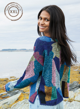 A brilliant color study, our contemporary pima pullover is a patchwork of tweeded brights, from indigo, teal, sky and jade to brass, violet, pink and fuchsia. An exquisite art knit, intarsia framed by hand, the relaxed shape is styled with drop shoulders, side vents and handcrocheted scallop trim. Pima (99%) and nylon (1%).