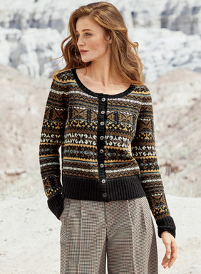 Handloomed in stripes of earthy neutrals, the cardigan was inspired by a Tunisian embroidery. Soft and warm in cotton (51%), alpaca (41%) and nylon (8%), with an open round neck and wide ribbed trim at the hem and cuffs.