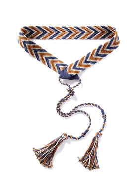 The knotted sash adds an elevated touch, in graphic chevrons of navy, cream and warm brown pima. Finished with bead-tipped tassel ties.