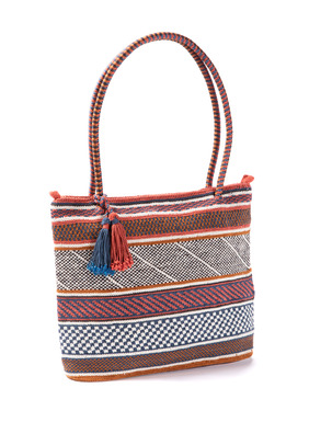 Patterned stripes enliven the handcrocheted pima bag in red, navy, cream and brown; striped handles; tassel trim.