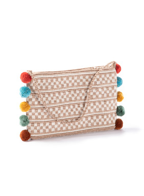 Festive pompoms adorn the whimsical clutch, handcrocheted in checkered bands of tan and cream pima; braided strap; zip closure.