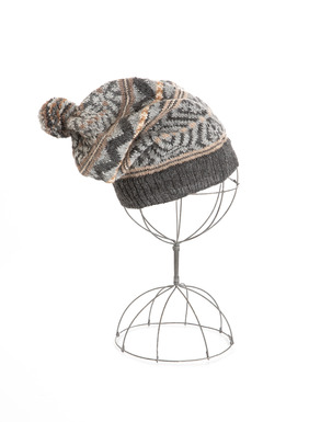 Complete your wintry ensemble with the cozy alpaca (92%) pompom hat, patterned with Peruvian geometrics in dusty earth tones and a dash of silver Lurex (8%).