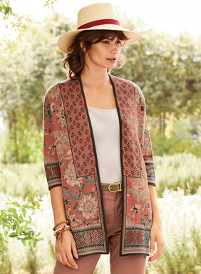 Chinese florals mix and mingle with tribal geometrics, lending global pattern play to this head-turning kimono. Jacquard knit in rich, warm hues of copper, dusty rose, cerulean and olive pima. Drop shoulders; elbow-sleeves; buttonless placket.