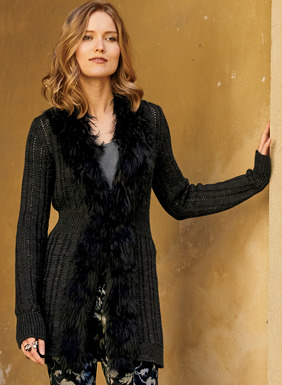 Lavishly collared in sumptuous black alpaca fur, this modern update to our legendary Biddy Coat looks fabulous with cocktail pants or jeans. Knit in wide pointelle ribs of dark charcoal baby alpaca, it closes at the nipped-in waist with a single hook-and-eye.
