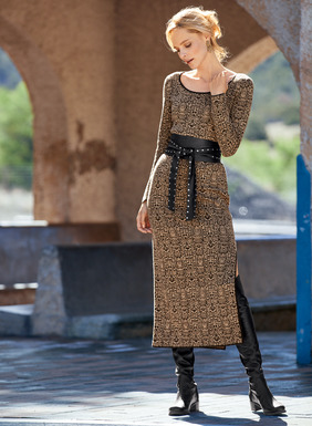 In eternally sensuous python patterning, our jacquard knit column dress in tan and black pima is minimally styled with a scoop neck, contrast piping and a single deep side slit.