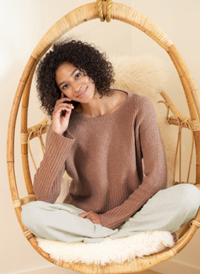 Mixed ribs and textural pima (92%) and nylon (8%) bouclé yarns give this pullover its gorgeous homespun texture. Ultra-soft and full-fashion knit with drop shoulders and exaggerated ribbed trim at the cuffs and hem.