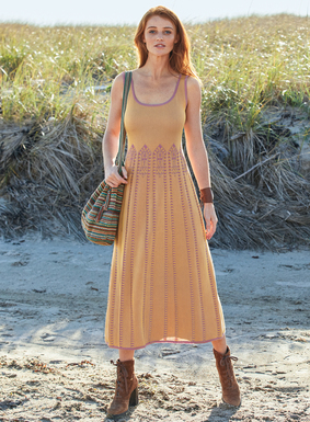 Moorish arches inspired the textural knit of this intriguing pima tank dress. Jacquard knit in striking shades of pale orchid and apricot, with engineered, knit-in gores to fit slim through the bodice, flaring to the sweeping hem.