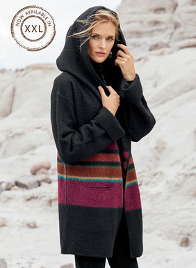 Irregular bands of bold canyon colors are brilliant on our cozy black blanket coat. A generous embrace of plush, felted alpaca, it's knit easy and oversized, with a generous hood, patch pockets, buttonless placket and whipstitched trim; unlined.