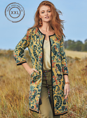 Echoing a  woodblock print from India, this breathtaking chintz floral is jacquard knit in shades of sky, mango and black on buttercup pima. Framed with contrast striping for a modern touch, our striking cardigan is a wonderful jacket alternative, with ¾-sleeves and a buttonless placket.
