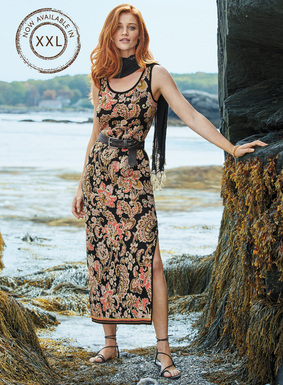 Verschlungene Blüten in leuchtendem Koralle, Flieder und Oliv beleben den schwarzen Grund unseres reizvollen Pima-Jacquardstrick-Kleids. Mit Rundhalsausschnitt und langem Seitenschlitz; am Saum ein Rand aus bunten Mikrostreifen.