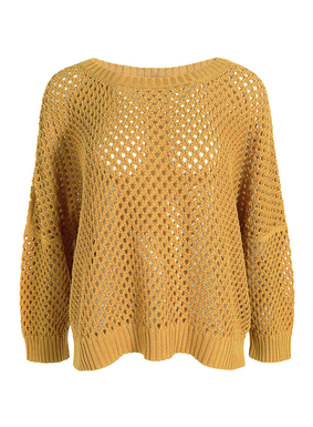 Our cropped, boxy, mesh knit pima pullover, styled with a crewneck, dolman sleeves and relaxed ribbed trim.