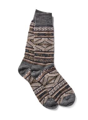 Luxury for the feet, Peruvian manta stripes pattern the snuggly soft baby alpaca (70%), wool (22%) and nylon (8%) socks.