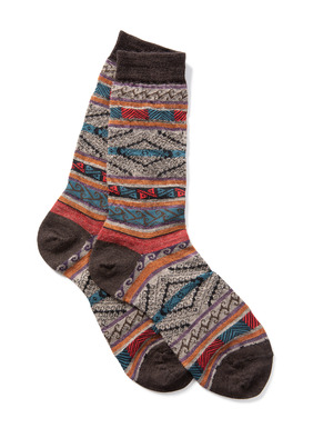Luxury for the feet, Peruvian manta stripes pattern the snuggly soft baby alpaca (70%), wool (22%) and nylon (8%) socks.