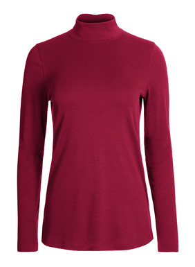Our bestselling, easy-cut mockneck is sewn of velvety pima interlock, with side slits.