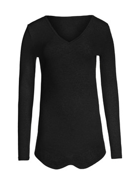 Zierliche Vintage-Spitzenmuster überziehen unser Pimajersey-Shirt mit V-Ausschnitt; gerundeter Saum.