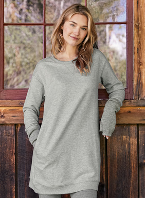 In soft, lightweight French terry, the sweatshirt tunic features overlock stitching and ribbed trim at the crewneck, cuffs and hem; pockets. Light Heather Grey cotton (73%) and polyester (27%), or solid Black Cotton (100%).