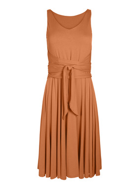 Day-to-night chic, our pima (51%) and modal (49%) jersey dress flatters the body in easy gathers from a doubled back layer that wraps and ties in front. Styled with a v-neck and a twirlable knee-length hem.