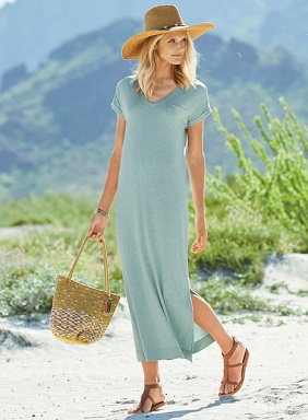 For carefree summer days, our easy t-shirt dress is cool and casual in a soft jersey knit of pima (49%), modal (47%) and spandex  (4%). Styled with a v-neck, cuffed sleeves, patch pocket and side vents.